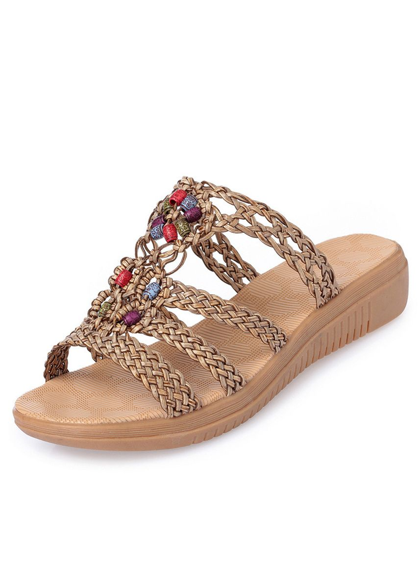 Brown color Sandals and Slippers . Sandals And Slippers Women's Flat-bottomed Fashion Woven Belt Flat -