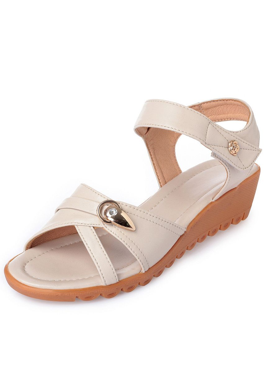 Grey color Sandals and Slippers . Mother Female Sandals Flat Bottom Middle-aged Ladies Soft Slip Large -