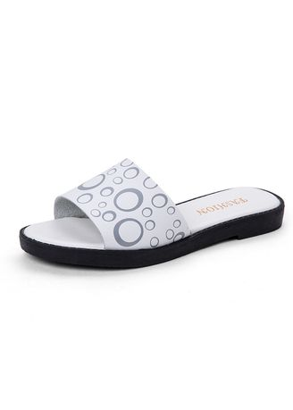 White color Sandals and Slippers . Printing Ladies Flat Sandals Fashion Home Slippers Women Comfortable -