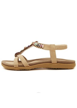 Brown color Sandals and Slippers . Bohemian Wear-resistant TPR Tendon Bottom Flat Women's Shoes String -