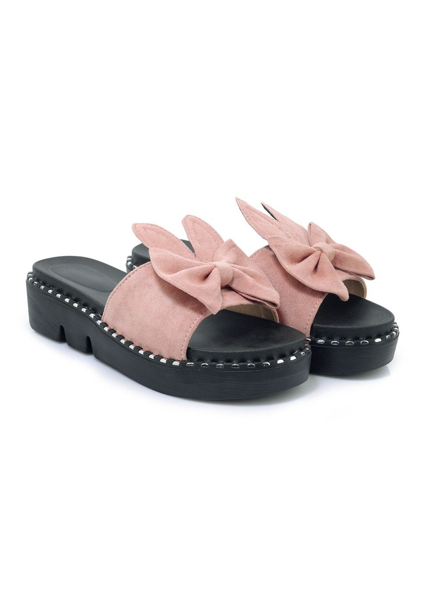 Pink color Sandals and Slippers . Comfort Flat Sweet Rabbit Ear Size 30-44 Female Slipper Tide 1861 -