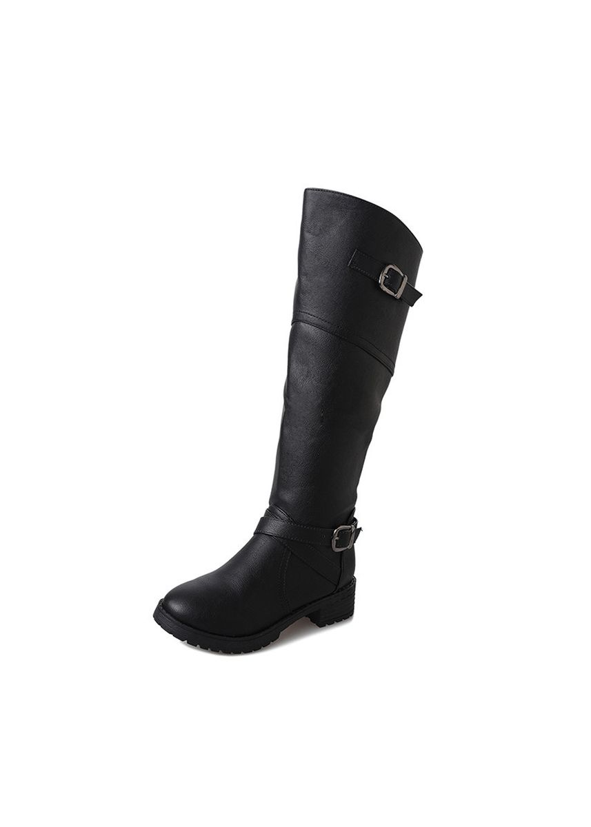 Black color Boots . Large Size Fashion Round Head Side Zipper Flat Martin Boots Female -