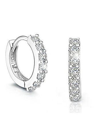 เงิน color  . Mirror Dress ต่างหู Diamond Line Ring S925 -