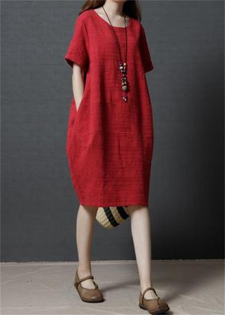 Dresses . Korean Loose Fashion Cotton and Linen Solid Color Dress -