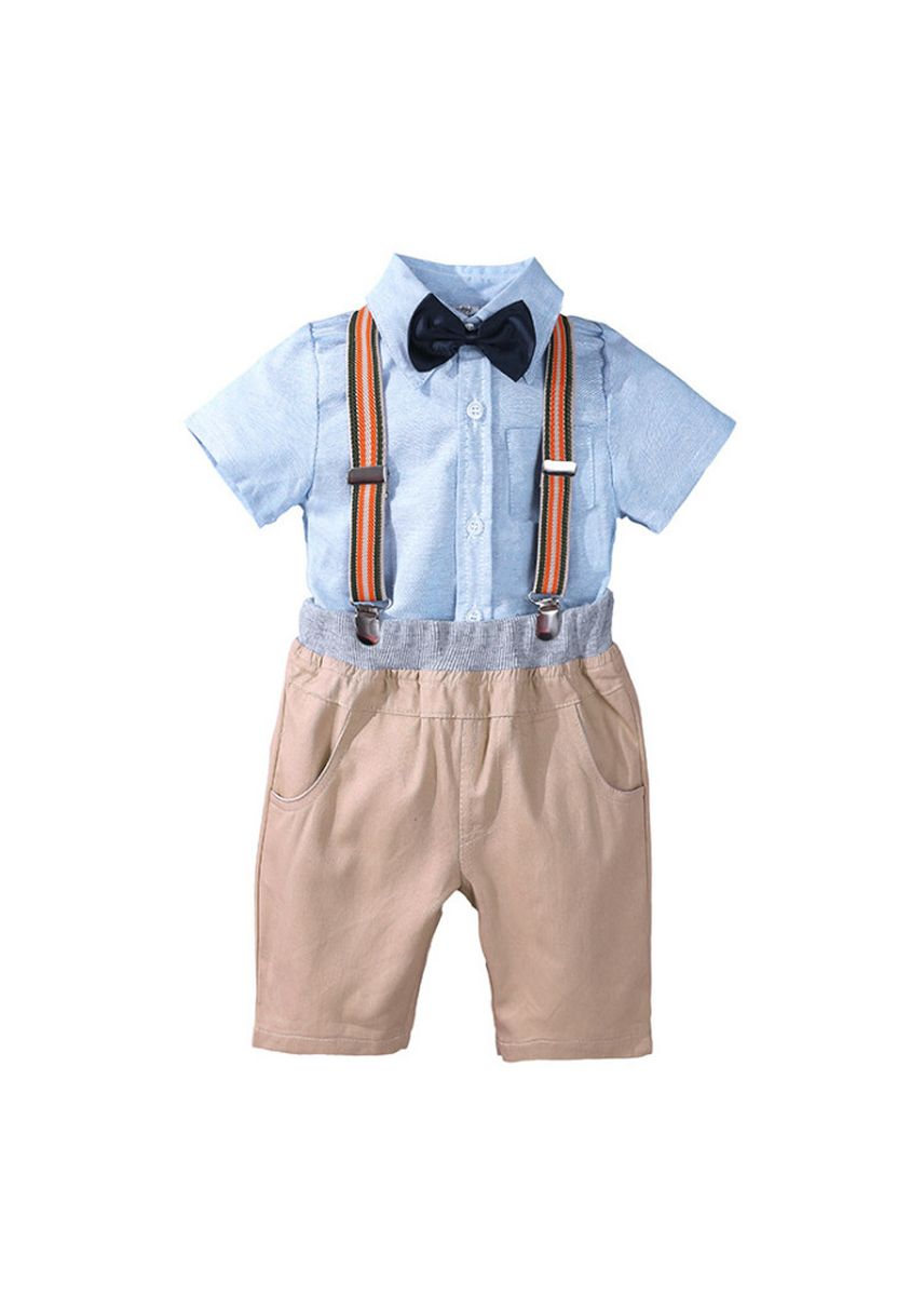 ฟ้า color ชุด . Baby Boys Clothes Sets Bow Ties Shirts + Suspenders Pants Toddler Boy Gentleman Outfits Suits -
