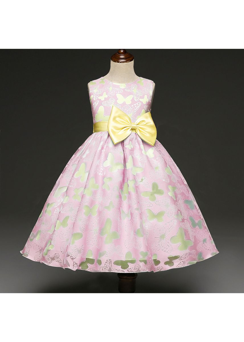 Pink color Dresses . Children's Bow Dress Girls Print Costumes -