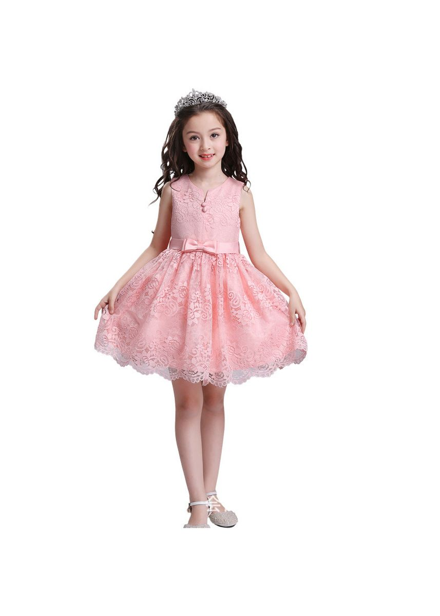 Pink color Dresses . Children's Dress Princess Skirt Wedding Flower Girl Bow Lace Costume -