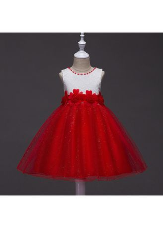 แดง color เดรส . Flower Girls Dress Children's Lace Princess Mesh -
