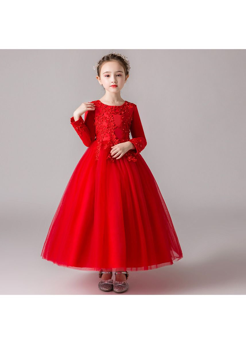 แดง color เดรส . Children Dress Fluffy Long Skirt Children's Birthday Flower Girl Wedding -