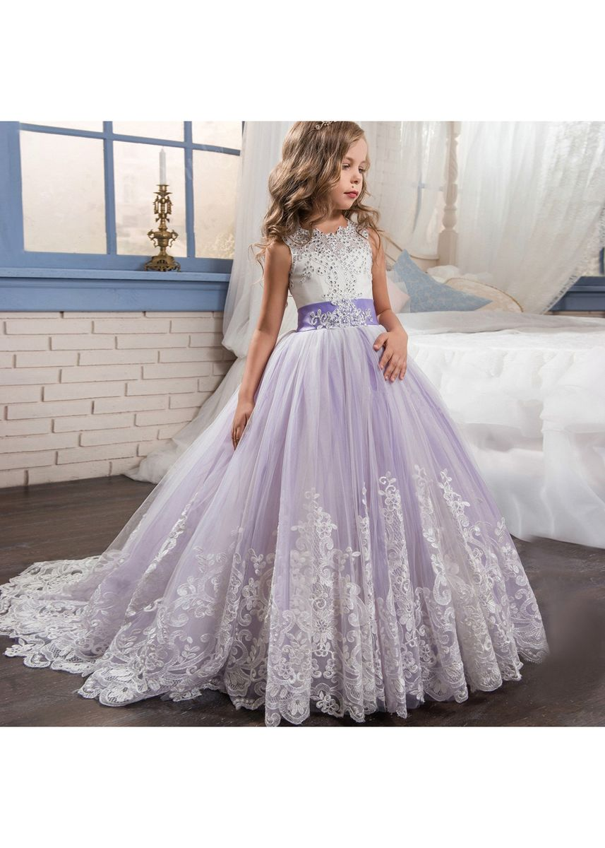 Purple color Dresses . Purple Long Tail Skirt Flower Girl Handmade Lace Embroidered Princess -
