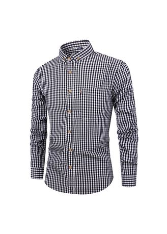 Casual Shirts . ER Men's New Shirt Breathable Cotton Long-sleeved Plaid Casual Slim -