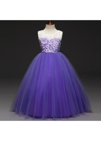 สีม่วง color เดรส . Skirts Lace Children Dress Girls Fashion Wedding Princess -