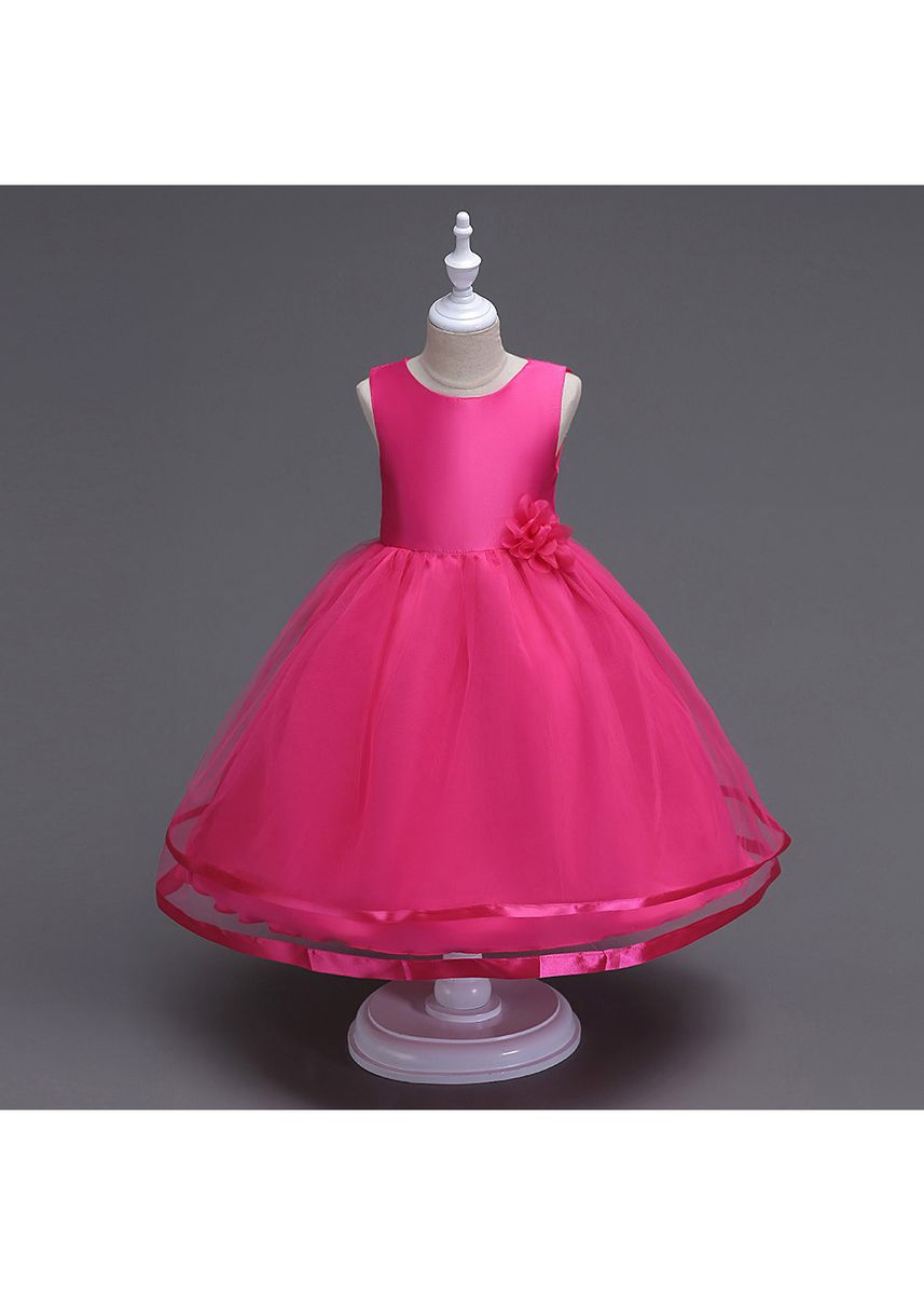 สีน้ำตาลแดง color เดรส . Princess Children Dress New Girls Fashion Fluffy In The Children Show Long Skirt -