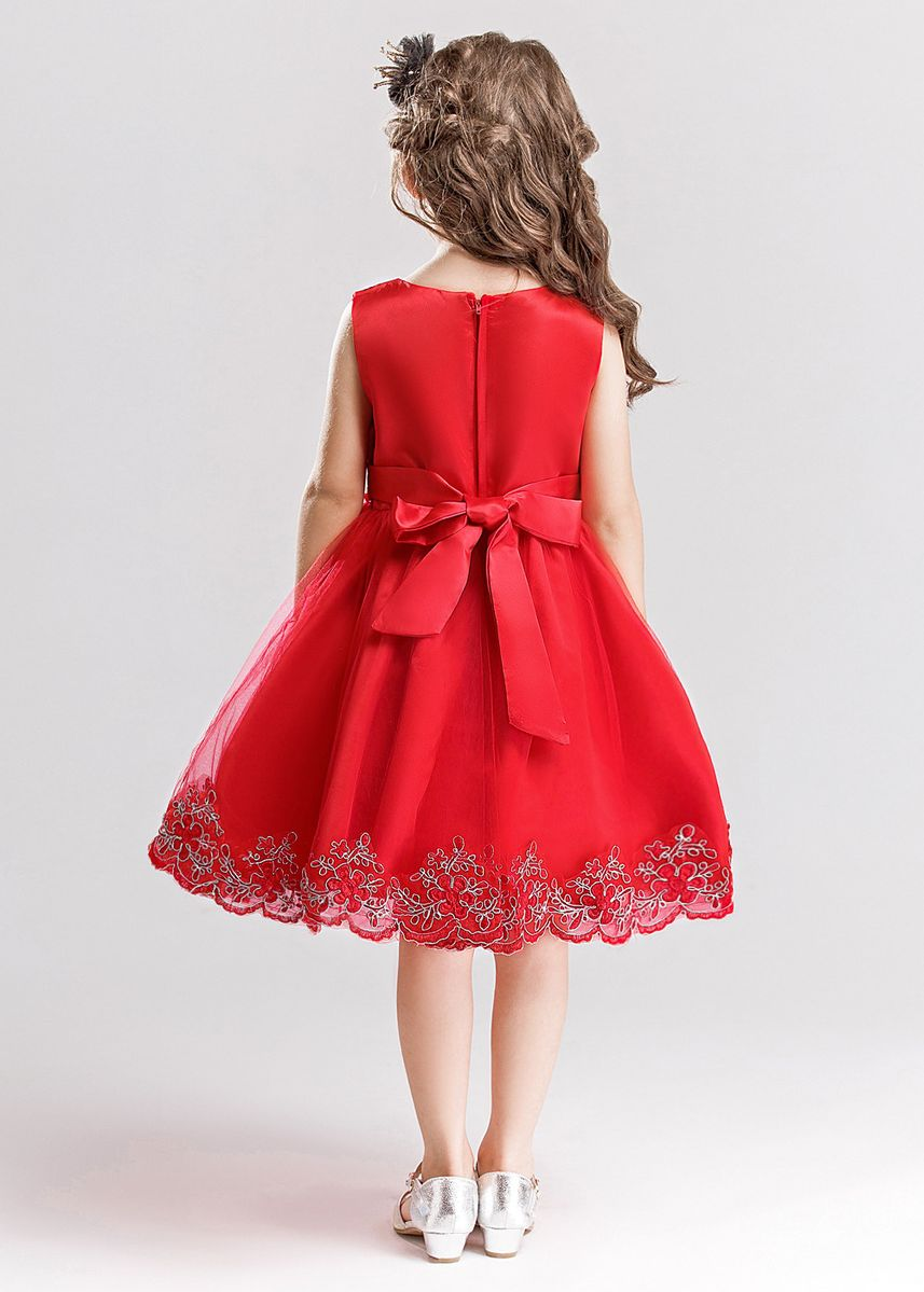 Red color Dresses . Children's Clothing New Wedding Princess Children Dress Six One Girls Fashion Red -