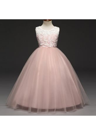 ชมพู color เดรส . Skirts Lace Children Dress Girls Fashion Wedding Princess -