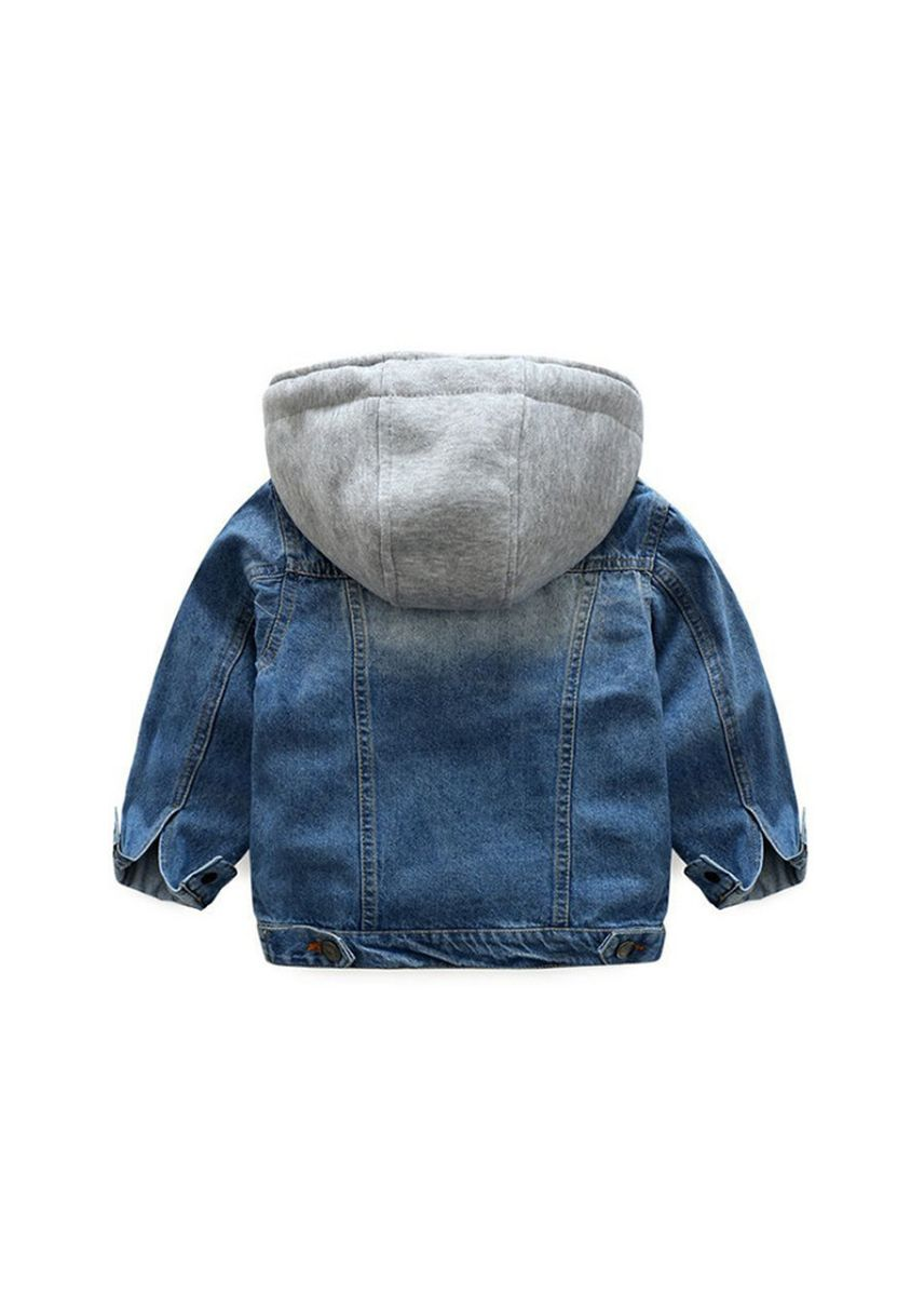 ฟ้า color แจ็คเก็ต . Little Boys Girls Cardigan Hooded Lapel Zipper Pocket Baby Denim Coat Jackets Outerwear -