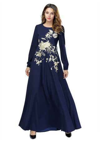 b94d2b909c1 Muslim skirt Euro-American heavy embroidery dress with loose long sleeves
