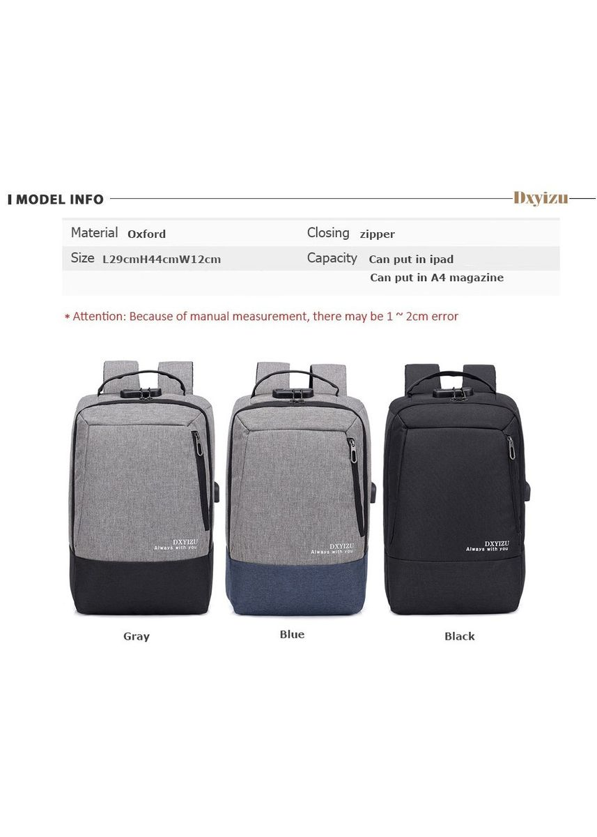 Blue color Backpacks . 15.6 inch Laptop Backpack USB Charging Book Bags -