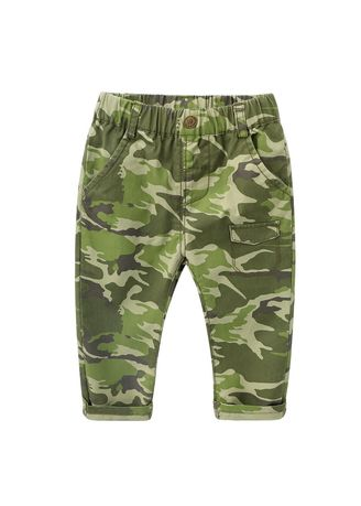 White color Bottoms . And Children's Wear Years Old Baby Boy Camouflage Uniform Long Pants -