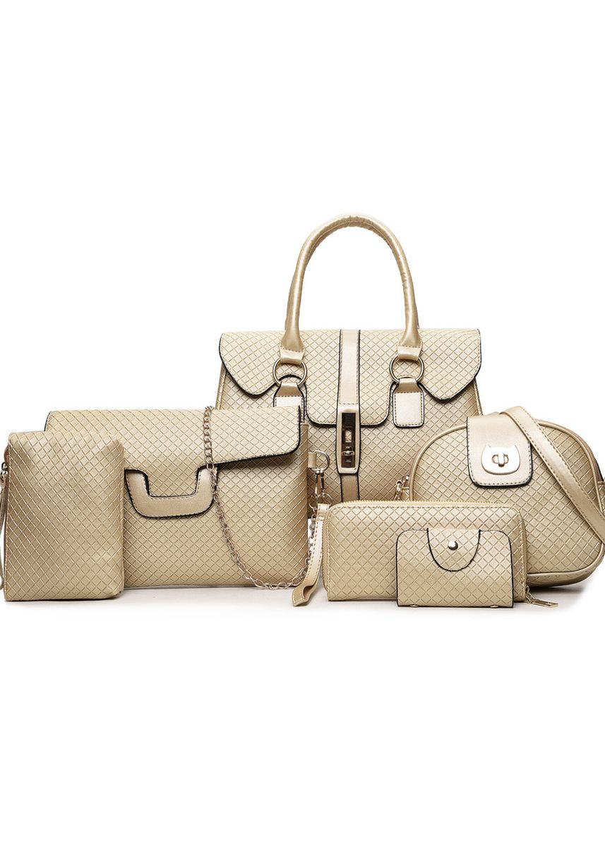 Yellow color Hand Bags . Fashion Pu Leather Ladies' Mother Bag Six-piece Suit Shoulder -