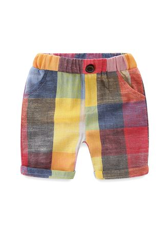 Brown color Bottoms . Baby Plaid Shorts Korean Children's Wear Casual Rainbow Hot Pants -