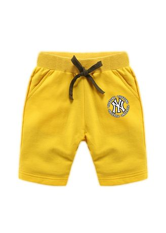 Yellow color Bottoms . Boys Cotton Shorts Thin Round Letter Pattern Children's Casual Pants -