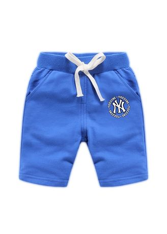 Blue color Bottoms . Boys Cotton Shorts Thin Round Letter Pattern Children's Casual Pants -