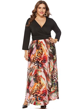 Long Sleeves Jersey Printed Plus Size Maxi Dress for Elegant ...