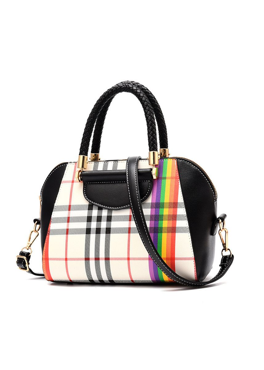 Black color Hand Bags . Boston Bag Plaid Women's Handbag Fashion -