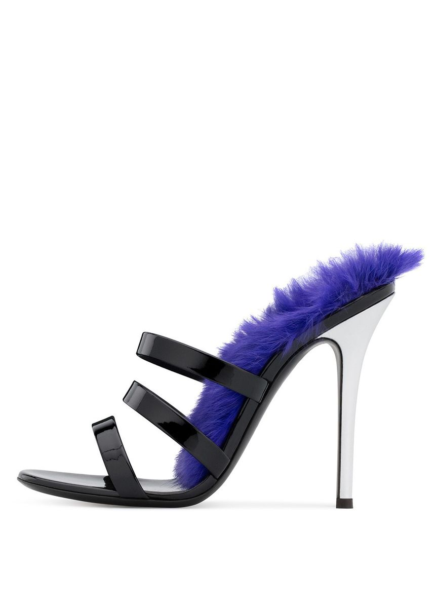 Black color Heels . Black Patent Leather High Heel Slippers Large Size Mules Shoes Fashion -