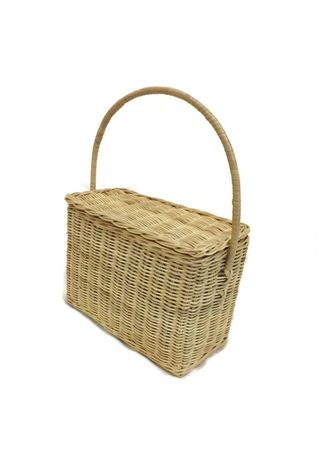 Brown color Home Decor . Kerajinan Tangan Rotan - Keranjang Tenteng Tutup Kotak 21x30x11cm -