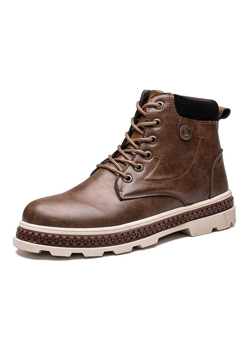 Brown color Boots . Men's Martin Boots British Wind Retro Tooling In The High-Cut Short -