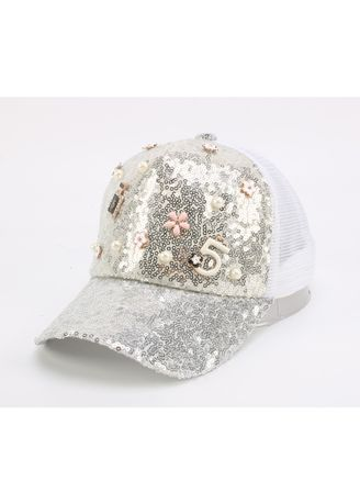 . Parent-child Hat Mother And Daughter Sequins Beaded Word Net Sun -