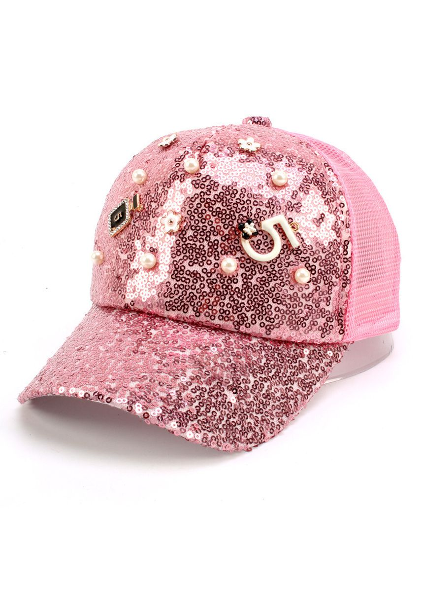 Pink color Caps . Parent-child Hat Mother And Daughter Sequins Beaded Word Net Sun -