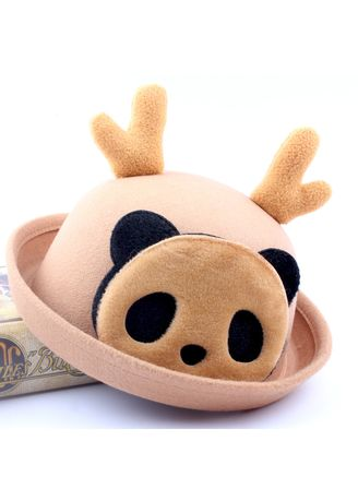 . And Fashion Cartoon Bowler Child Dome Antler Basin Hat Wool -