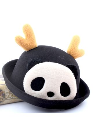Black color Caps . And Fashion Cartoon Bowler Child Dome Antler Basin Hat Wool -