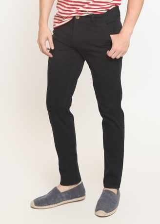 Black color Casual Trousers and Chinos . 2Nd RED Celana Pria Slim Fit Chinos Elastis Best Quality Warna Black 115524 -