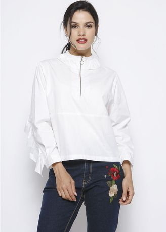 White color Tops and Tunics . MinimalZipped With Ruffle -