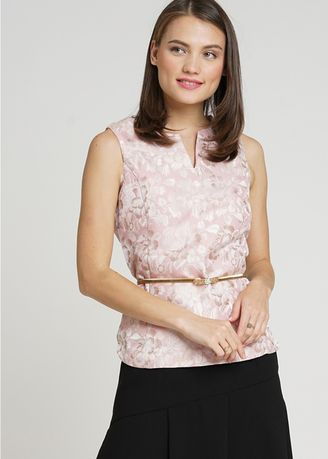 Pink color Tops and Tunics . MinimalSleeveless Rose Gold Top -