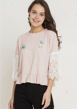 Pink color Tops and Tunics . MinimalAlicie Lace Tee -