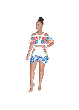White color Jump Suits . Sexy Printing Women's Jump Suits -