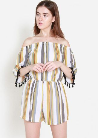 Multi color Jump Suits . Keeping It Real Striped Off Shoulder Romper -