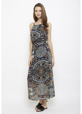 Multi color Dresses . Branch Out Halter Neck Maxi Dress In Artsy Prints -