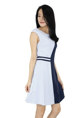 Blue color Dresses . Kelly 2 Tones Fit And Flare Dress -