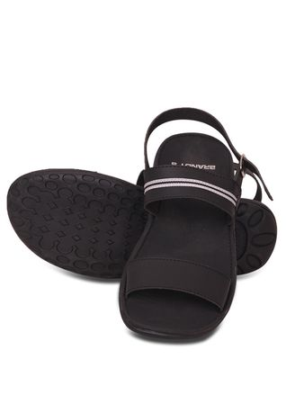 Black color Sandals and Slippers . LoganStyle - Sandal Pria Casual Kulit Tayo -