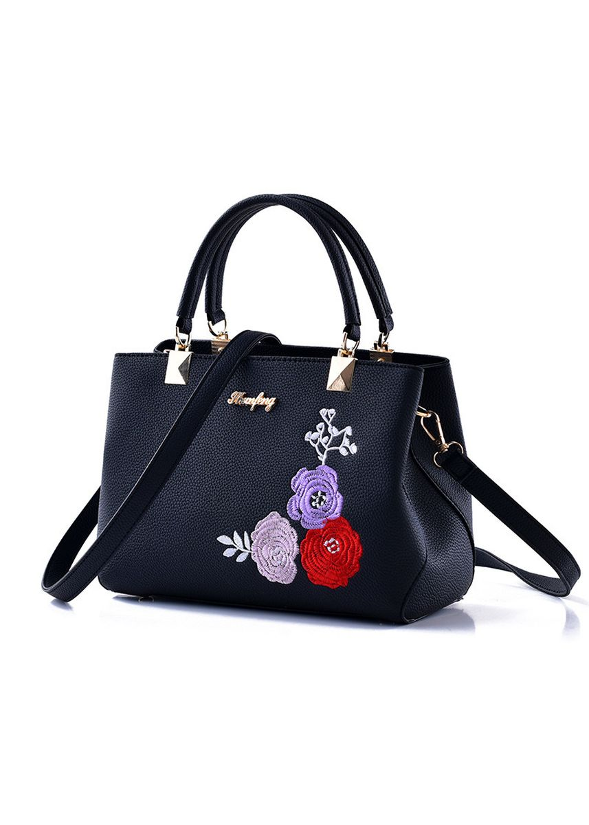 Black color Hand Bags . Women's Embroidered Large Capacity Handbag  -