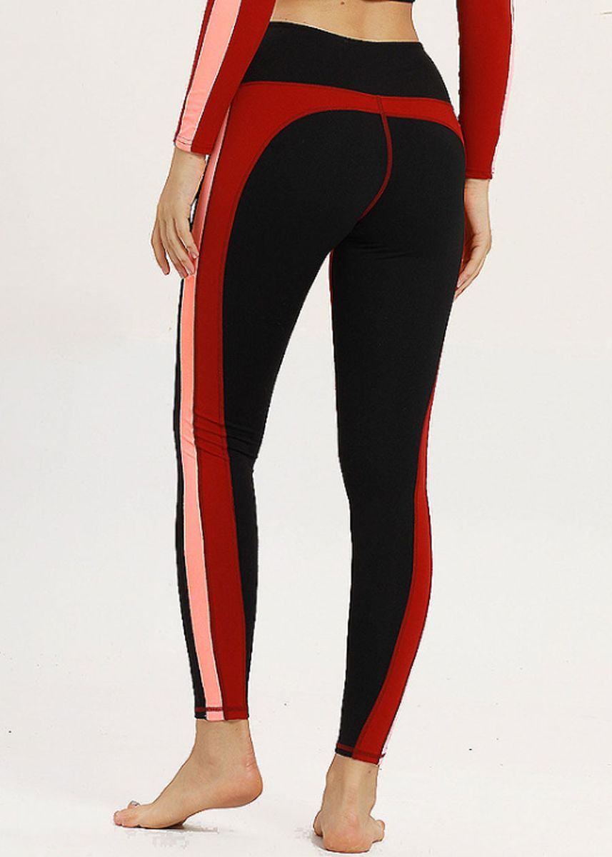 Red color Sports Wear . Contrasted Color Yoga Fitness Running Leggings -