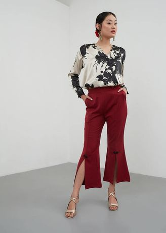 Red color Trousers . BERRYBENKA Novah Front Slit Pants Red -