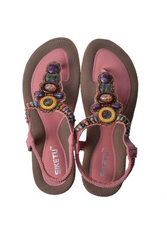 Pink color Sandals and Slippers . Bohemia Style Women Female Sandals Flat Heel Handcrafted Beads -