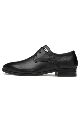 Black color Formal Shoes . Men's Crocodile Leather Business Casual Shoes -